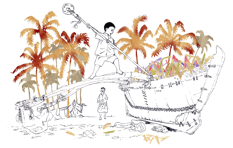 Barques De Pecheurs Indiens à Goa